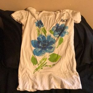 Abercrombie and Fitch white, floral T-shirt